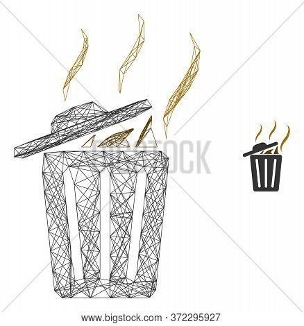 Web Mesh Smell Trash Can Vector Icon. Flat 2d Carcass Created From Smell Trash Can Pictogram. Abstra
