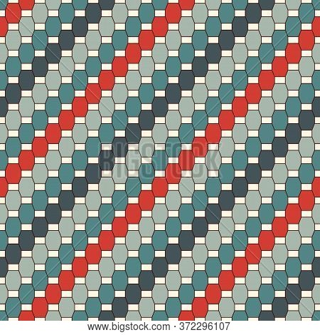 Seamless Pattern With Diagonal Braid Ornament. Octagons Tile Surface Background. Geometric Motif. Mo
