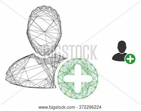 Web Carcass Add User Vector Icon. Flat 2d Carcass Created From Add User Pictogram. Abstract Carcass
