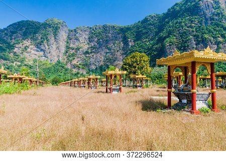 Lumbini Garden With Rows Of Buddha Statues Near Hpa An, Myanmar