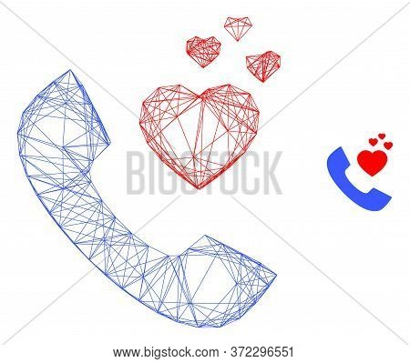 Web Mesh Romantic Phone Vector Icon. Flat 2d Carcass Created From Romantic Phone Pictogram. Abstract