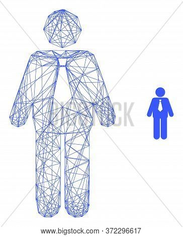 Web Net Groom Vector Icon. Flat 2d Carcass Created From Groom Pictogram. Abstract Carcass Mesh Polyg