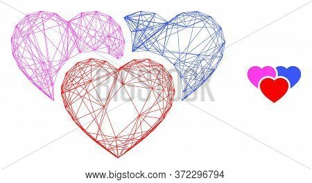 Web Network Love Hearts Vector Icon. Flat 2d Carcass Created From Love Hearts Pictogram. Abstract Ca