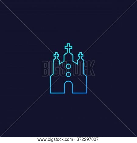 Church, Catholic Temple Icon, Line Vector Design, Eps 10 File, Easy To Edit