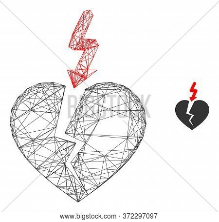 Web Mesh Break Heart Vector Icon. Flat 2d Carcass Created From Break Heart Pictogram. Abstract Carca