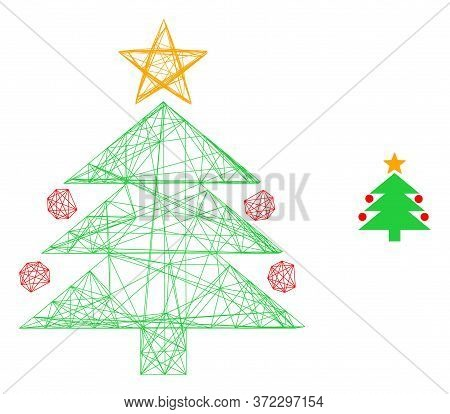 Web Carcass Christmas Tree Vector Icon. Flat 2d Carcass Created From Christmas Tree Pictogram. Abstr