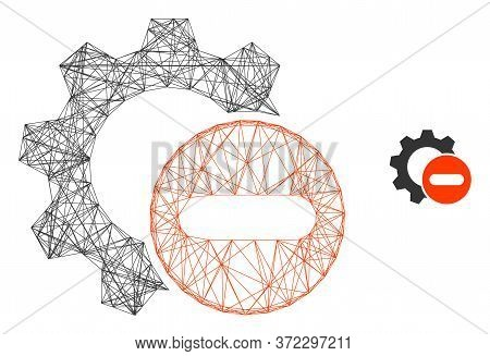 Web Mesh Remove Settings Gear Vector Icon. Flat 2d Carcass Created From Remove Settings Gear Pictogr