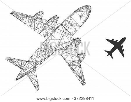 Web Net Airplane Vector Icon. Flat 2d Carcass Created From Airplane Pictogram. Abstract Carcass Mesh