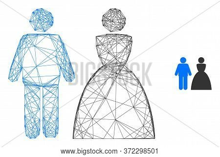 Web Network Wedding Couple Vector Icon. Flat 2d Carcass Created From Wedding Couple Pictogram. Abstr
