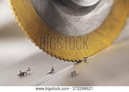 End Mill Cutting Aluminium Billet. Circular Milling Machine Make Hole In Metal Profile.