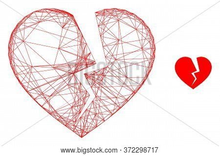 Web Net Broken Heart Vector Icon. Flat 2d Carcass Created From Broken Heart Pictogram. Abstract Carc