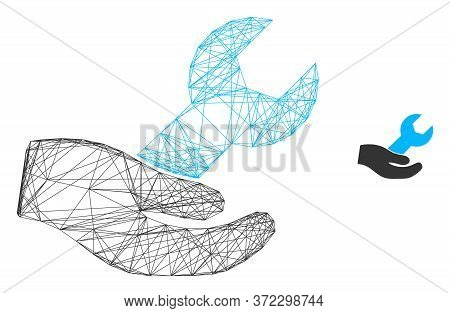 Web Net Hand And Wrench Vector Icon. Flat 2d Carcass Created From Hand And Wrench Pictogram. Abstrac