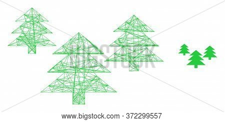 Web Mesh Fir Tree Forest Vector Icon. Flat 2d Carcass Created From Fir Tree Forest Pictogram. Abstra