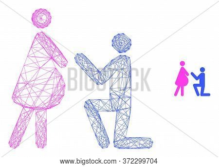 Web Carcass Pregnant Woman Engagement Vector Icon. Flat 2d Carcass Created From Pregnant Woman Engag