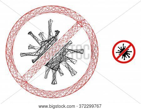 Web Net Forbidden Coronavirus Vector Icon. Flat 2d Carcass Created From Forbidden Coronavirus Pictog