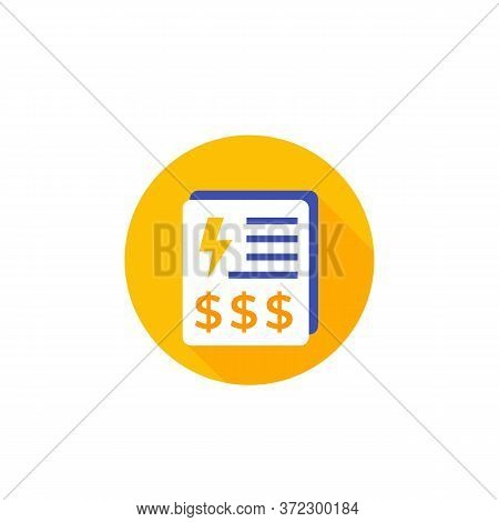 Electricity Utility Bills, Payments Icon On White, Eps 10 File, Easy To Edit