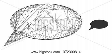 Web Mesh Message Cloud Vector Icon. Flat 2d Carcass Created From Message Cloud Pictogram. Abstract C