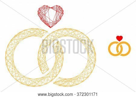 Web Net Wedding Rings Vector Icon. Flat 2d Carcass Created From Wedding Rings Pictogram. Abstract Ca