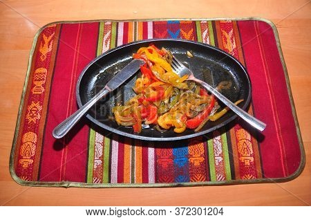 Stewed Peper On A Plate, Mexican Close Up