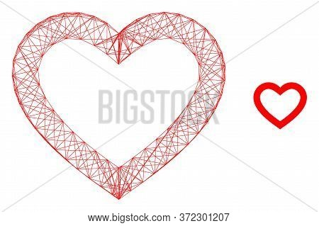 Web Carcass Romantic Heart Vector Icon. Flat 2d Model Created From Romantic Heart Pictogram. Abstrac