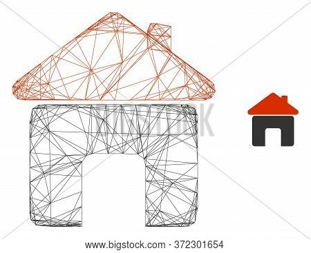 Web Carcass House Vector Icon. Flat 2d Carcass Created From House Pictogram. Abstract Carcass Mesh P