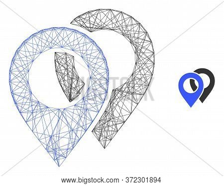 Web Mesh Map Markers Vector Icon. Flat 2d Carcass Created From Map Markers Pictogram. Abstract Carca