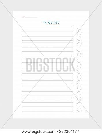 Vector Daily To Do List Planner. Planner Page.