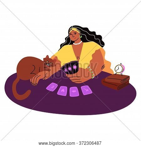 Cartoon Pretty Fortuneteller Predicts The Future, A Brown Cat Lies Near And Cards Are Laid Out On A