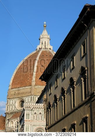 Glimpse Of The Great Dome Of The Architect Brunelleschi Of The Cathedral Of Florence In Tuscany Ital