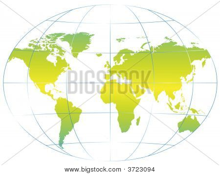 World map on clean white background illustration poster