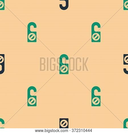 Green And Black Please Do Not Disturb Icon Isolated Seamless Pattern On Beige Background. Hotel Door