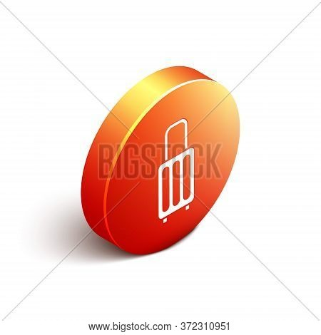 Isometric Suitcase For Travel Icon Isolated On White Background. Traveling Baggage Sign. Travel Lugg