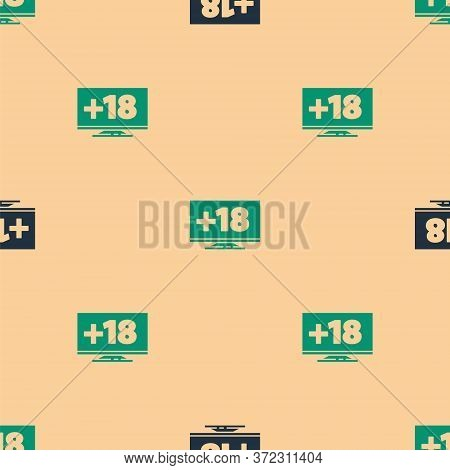 Green And Black Computer Monitor With 18 Plus Content Icon Isolated Seamless Pattern On Beige Backgr