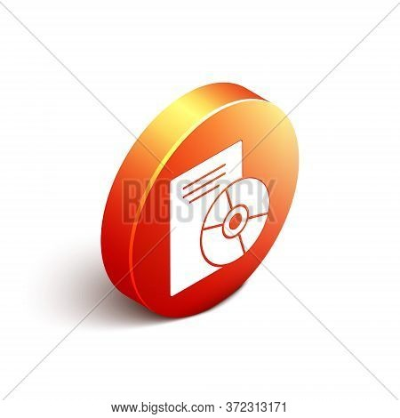 Isometric Cd Or Dvd Disk Icon Isolated On White Background. Compact Disc Sign. Orange Circle Button.