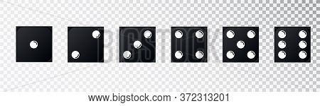 Black Game Dice Set. Set Of Game Dice, Isolated . Dice Ifrom One To Six. Vector Illustration