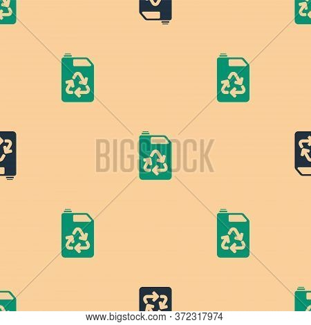 Green And Black Eco Fuel Canister Icon Isolated Seamless Pattern On Beige Background. Eco Bio And Ba