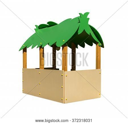 Wooden Playhouse With Green Roof For Playground. Shadowless Isolated On White Background