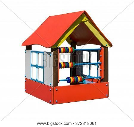 Red Wooden Playhouse With Abacus. Equipment For Playground. Shadowless Isolated On White Background