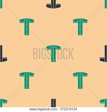 Green And Black T-square Line For Professional Drafting Icon Isolated Seamless Pattern On Beige Back