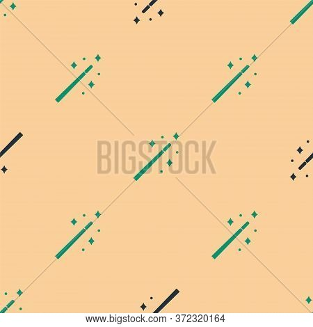 Green And Black Magic Wand Icon Isolated Seamless Pattern On Beige Background. Star Shape Magic Acce