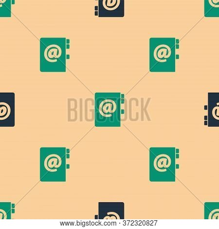 Green And Black Address Book Icon Isolated Seamless Pattern On Beige Background. Notebook, Address,