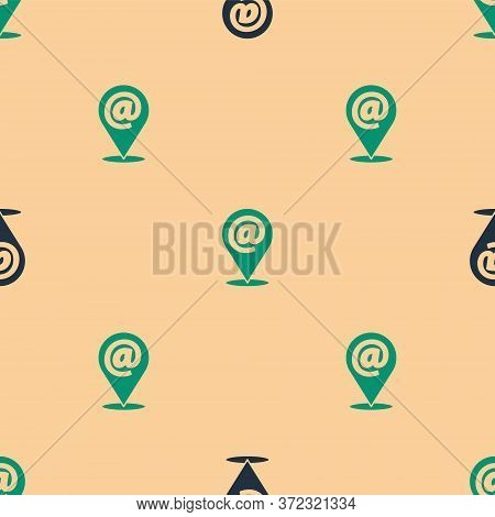 Green And Black Location And Mail And E-mail Icon Isolated Seamless Pattern On Beige Background. Env