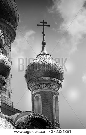 Classic Russian Christian Orthodox Church In Black And White Photography