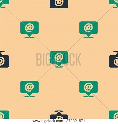 Green And Black Mail And E-mail Icon Isolated Seamless Pattern On Beige Background. Envelope Symbol