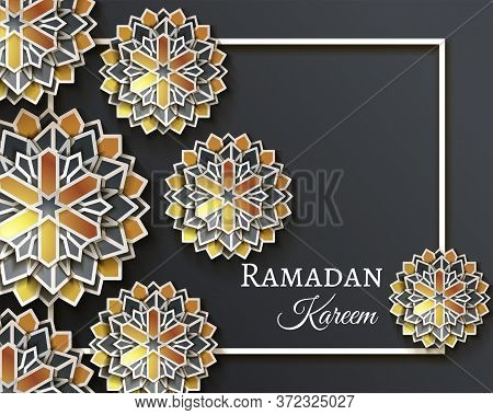 Ramadan Kareem Celebrate Greeting Card Or Illustration With Paper Cutting Style With Bright Colored