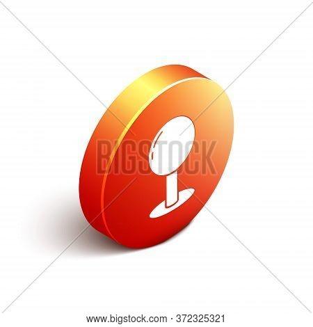 Isometric Push Pin Icon Isolated On White Background. Thumbtacks Sign. Orange Circle Button. Vector