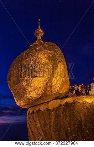 Mt Kyaiktiyo, Myanmar - December 11, 2016: Pilgrims Visit Mt Kyaiktiyo Golden Rock , Myanmar