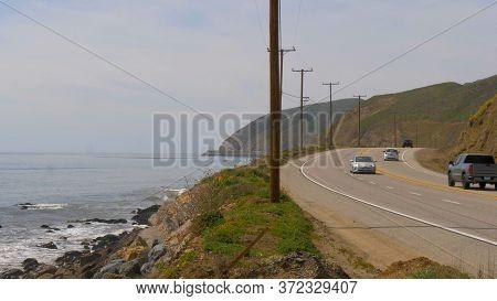 Famous Pch Pacific Coast Highway In Malibu - Malibu, United States - March 29, 2019