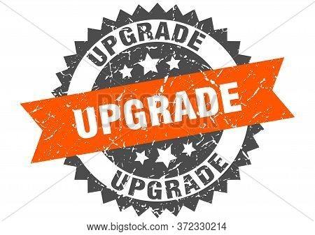 Upgrade Grunge Stamp With Orange Band. Upgrade