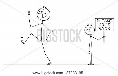 Cartoon Stick Figure Drawing Conceptual Illustration Of Happy Smiling Man, Employee, Worker Or Custo